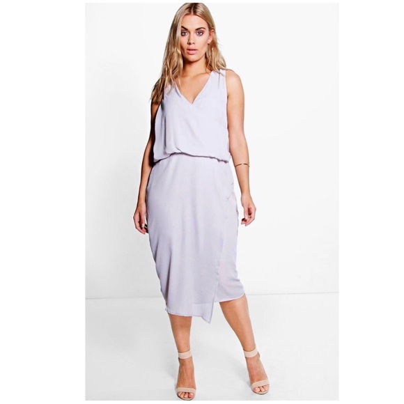 affc75ea76be Boohoo Plus Dresses & Skirts - Boohoo Plus Anna Wrap Front Occasion Dress  in Grey